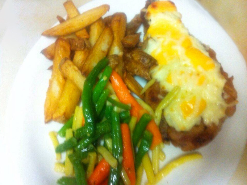 Four-Cheese Pork Steak, $15.95