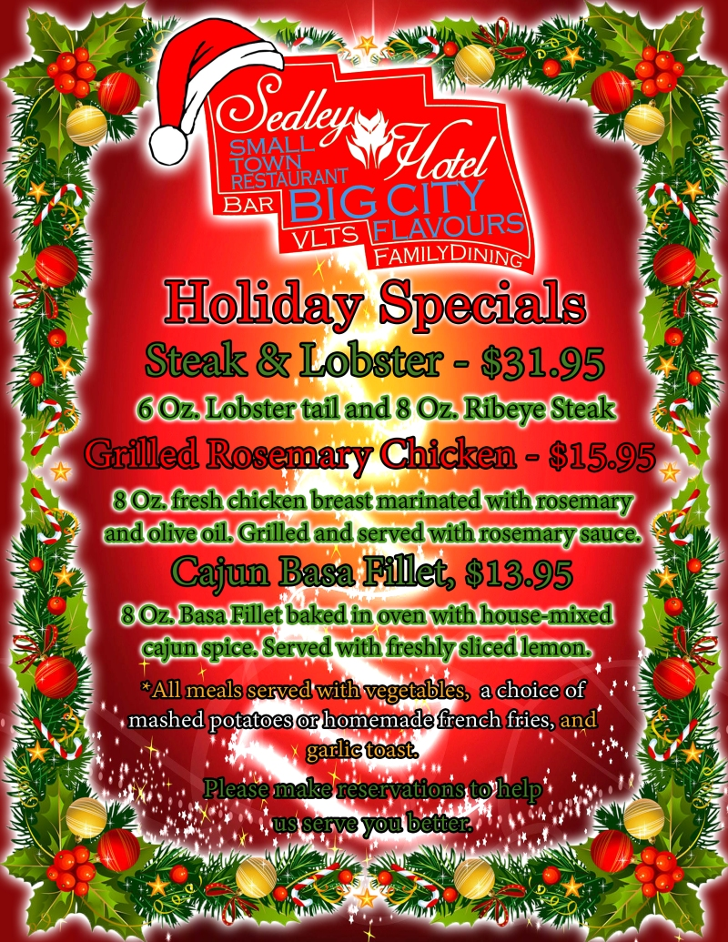 Holiday Special Menu Sedley Hotel